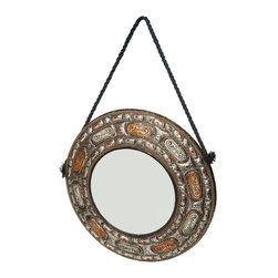 "18"" Round Moroccan Mirror with Rope - This ornately-decorated rope-hung round mirror adds character to a casual decor. An intricately hand-detailed metal frame is inlaid with natural and henna-dyed carved bone from camel, sheep, or cow, and is accented in red and blue."