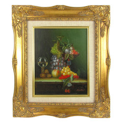 Giltwood Framed Still Life by Miller w/ Grapes - Oil on board painting of fruit and a wine glass on a table. Signed Miller in the bottom right corner. Framed in ornate wood and gesso frame with gold finish and linen liner.