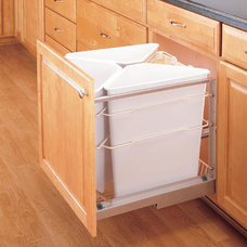 Shelves That Slide 75+ quart Trash and Recycle center - 3 plastic 25 qt containe