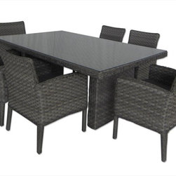 Kontiki - Kontiki Dining Sets - Wicker Medium (Ideal for 6 Seats) - [1.0 set/set] - Havenwood 7 Piece Mix Weave Dining Set - Gray -With the Kontiki Havenwood Collection, you can step into an oasis of comfort and relaxation, right outside your back door. Relax with family or friends, and transform your outdoor space with style.  With BuildDirect, enjoy casual outdoor living at its best for less  Contemporary and cozy, the Kontiki Havenwood Collection combines superiority in outdoor living technology with exceptional design. With solid welded aluminum frames and hand-woven wicker, you can get the best outdoor seating and dining options available on the market today when you invest in this product.  With its mix of contemporary and traditional styling, this collection offers wicker in a mix of extremely wide and narrow bands for a unique look, accented by grey or blue cushions. This collection is a fantastic addition to any outdoor space, and its unique comfort will ensure that your summer nights, spent in the company of your family and friends, will be enchanting.  Our commitment is to low prices and high quality, every day at BuildDirect  With our garden furniture collections, we make it a priority to ensure our customers get the best deals on the market. That's why you can save money on the Kontiki Havenwood Collection when you choose to buy with BuildDirect. Our commitment to low prices comes first, no matter what your budget.  At Build Direct, we also know that you need the highest quality for your outdoor entertainment purchase. Because your family deserves quality that you can afford, our products are enhanced by fantastic materials and exceptional production standards, every time.