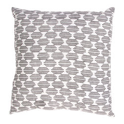 """Jaipur Rugs - Handmade Cotton Ivory/White/Black (18""""x18"""") Pillow - Mozambique cotton based pillow blocked printed with simple patterns.  These pillows will add a cultural aesthetic to your living area."""