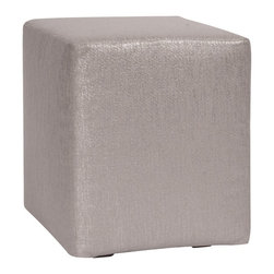 Howard Elliott - Glam Pewter Universal Cube Cover - Does your Universal Cube need an update? Do so by simply getting a new cover. Velcro fasteners and tailored design make it so you would never know this piece is slipcovered. Cleaning and updating is a breeze, change your look on a whim with new covers!