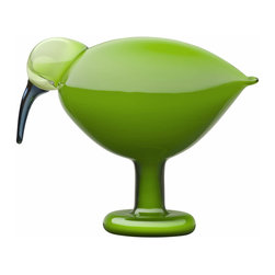 "Iittala - Toikka Ibis 8.5"" x 6.75"" Green - Succinctly stylized yet instantly recognizable, the Toikka ibis stands in a lifelike grub-grazing pose, going peacefully about his business as though at home in his natural habitat. With his clean silhouette and apple green shade, he'd be as happy in your modern, eclectic habitat as in any nature-themed setting. Each handmade Toikka bird is a unique, collectible art piece."