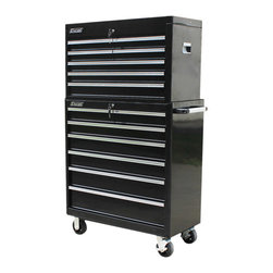 Excel - Excel 36-inch Top Chest and Steel Roller Cabinet Combo - Store your tools in this durable cabinet from Excel featuring fourteen drawers and recessed side handles on the top chest. You'll love the tough industrial powder coat paint finish for corrosion and scratch resistance.
