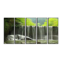 Vibrant Canvas Prints - Canvas Art Prints, Framed 3 Panel Mountain Waterfall Lakes - This is a beautiful, 100% quality cotton canvas print. This print is perfect for any home or office, and will make any room shine with its addition of color and beauty.  - Free Shipping - Modern Home and Office Interior Decor   Waterfall Canvas Designs - 5 Panel Print   Forest Waterfall Print on Canvas - Wall Art - 30 Day Money Back Guarantee.