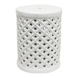 Home Decorators Collection - Jemma Garden Stool - Our ceramic Jemma Garden Stool is a fun and decorative way to create another seat or table for your living space. The stool can be used inside or outside on your patio or deck. White finish. Outdoor safe.