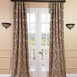 Half Price Drapes - Astoria Taupe and Mushroom Faux Silk Jacquard Single Panel Curtain, 50 X 96 - - Defined by a unique sheen and textured weave, our exclusive faux silk Jacquard curtains are gorgeous and timeless. They have a beautiful textured finish in brilliant and contrasting colors. Panels Are Lined & Weighted Corners.   - Single Panel   - 3 Rod Pocket   - Corner Weighted Hem   - Pole Pocket with Hook Belt Attached. Can be hung using rings. (Not Included)   - Dry clean   - 100% Polyester Jacquard Fabric   -Lined with 49% Cotton 51% Polyester blend   - 50x96   - Imported   - Beiges Half Price Drapes - JQCH-201266-96