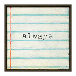 Always Lined Notebook Reclaimed Wood Wall Art, Small