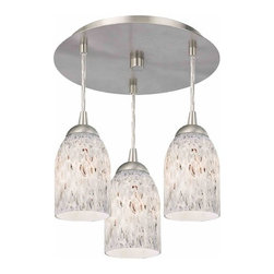 Contemporary Ceiling Light with Dome Art Glass Shades -