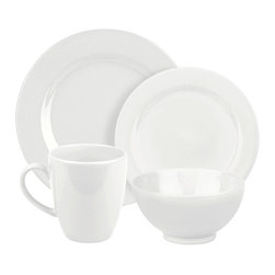 Waechtersbach - Fun Factory Place Setting, White, 4 Piece - Bring contemporary style to your table with the Fun Factory White 4-Piece Place Setting. Combining clean lines with solid color, this casual dinnerware set was created with everyday meals in mind. Service for one. Includes dinner plate, salad plate, soup/cereal bowl, and mug.