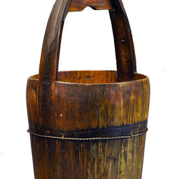 Antique Revival - Natural Vintage Ridge Bucket - This vintage, old-fashioned water bucket is handmade from elm, with an iron handle and iron banding to strengthen and support. The solid structure makes it great for storing items or simply for display. The natural wood finish adds a rustic touch to any room. Each item is unique and one-of-a-kind and dimensions/features may slightly vary.