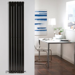 Hudson Reed - Black Vertical Double Flat Panel Designer Radiator 63 x 14 & Valves - Six double vertical panels, finished in superior high gloss black (RAL9005), make this radiator a striking design feature of any contemporary living space. The double vertical panels deliver an amazing heat output of 1700 Watts (5802 BTUs).Stylish and effective, this modern classic connects directly into your domestic central heating system by means of the reliable radiator valves included.Gloss Black Vertical Double Flat Panel Designer Radiator 63 x 14 Features  Dimensions (H x W x D): 63 (1600mm) x 14 (354mm) x 3.1 (79mm) Output: 1700 Watts (5802 BTUs) Pipe centres with valves: 17 (430mm) Number of panels: 6x 2 Fixing Pack Included (see image above) Designed to be plumbed into your central heating system Suitable for bathroom, cloakroom, kitchen etc. Weight: 70.5 lbs (32kg) Please note: angled radiator valves included Please note: This Designer Radiator is supplied with vertical mounting brackets only, it cannot be fitted horizontally with the fixings included.  Please Note: Our radiators are designed for forced circulation closed loop systems only. They are not compatible with open loop, gravity hot water or steam systems.