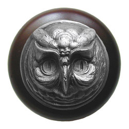 "Notting Hill - Notting Hill Wise Owl/Dark Walnut Wood Knob - Antique Pewter - Notting Hill Decorative Hardware creates distinctive, high-end decorative cabinet hardware. Our cabinet knobs and handles are hand-cast of solid fine pewter and bronze with a variety of finishes. Notting Hill's decorative kitchen hardware features classic designs with exceptional detail and craftsmanship. Our collections offer decorative knobs, pulls, bin pulls, hinge plates, cabinet backplates, and appliance pulls. Dimensions: 1-1/2"" diameter"
