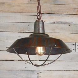 Rustic Copper Pendant with Grill -