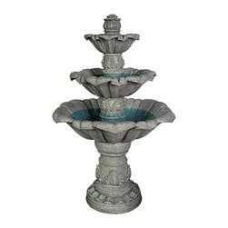 EttansPalace - 60 Pounds Soothing Sorrento Three-Tier Garden Fountain - The European tradition of formal fountains lives on in this sophisticated, garden fountain whose cascading tiers lend soothing water music to any garden. Water cascades from an acanthus finial at the crown and gently flows from each line in dramatic waves of sound. Enjoy the soft shimmer and sensuous tone of the splashing spray as this fountain takes its place as a magnificent centerpiece of your garden. Hand-cast in quality designer resin and finished with pride exclusively for, the fountain is engineered for proper water flow with a built-in recirculating indoor/outdoor UL-listed pump that uses normal household current. Simple assembly required.