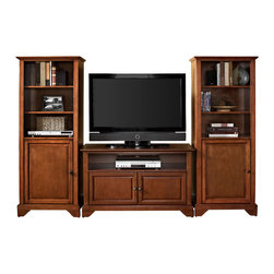 """Crosley - LaFayette 42"""" TV Stand and Two 60"""" Audio Piers ..."""