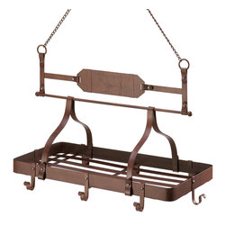 """Koehler Home Decor - Koehler Home Decor Country Cow Kitchen Pot Rack - Store your pots and pans in easy reach on this iron pot rack. A cow emblem and the rust red color give this piece a rustic western flair for your decor. Grated bottom and eight hooks offer plentiful rack space. 23 .5"""" X 12"""" X 28 .5"""" high. Weight 6.8 lbs.Dimension:23 .5 X 12 X 28 .5h. Weight 6.8 lbs."""
