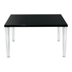Kartell - TopTop Table by Kartell - The Kartell TopTop Table is the latest surprise from Philippe Starck. TopTop is an original table that simultaneously combines polished and transparent finishes. The line is minimal, simple and essential. The tapered and transparent legs are square with pleated surfaces and a metal core while the table tops are lacquered with polyester in a glossy finish. Precious Wenge wood and bleached Oak variations enhance and complete the line. The TopTop Square Table is versatile and suited to many uses. Founded in 1949 by Giulio and Anna Castelli, Kartell has become the world leader—and innovator—in the realm of molded plastic furniture. Headquartered in Italy, Kartell works with designers worldwide to create their distinctive line of modern furniture, lighting and accessories. Dedication to discovering and employing new technologies and manufacturing methods results in a growing line of durable, stylish and cutting edge products.