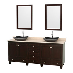 "Wyndham Collection - 80"" Acclaim Double Vanity w/ Ivory Marble Countertop & Altair Black Granite Sink - Sublimely linking traditional and modern design aesthetics, and part of the exclusive Wyndham Collection Designer Series by Christopher Grubb, the Acclaim Vanity is at home in almost every bathroom decor. This solid oak vanity blends the simple lines of traditional design with modern elements like beautiful overmount sinks and brushed chrome hardware, resulting in a timeless piece of bathroom furniture. The Acclaim comes with a White Carrera or Ivory marble counter, a choice of sinks, and matching mirrors. Featuring soft close door hinges and drawer glides, you'll never hear a noisy door again! Meticulously finished with brushed chrome hardware, the attention to detail on this beautiful vanity is second to none and is sure to be envy of your friends and neighbors"