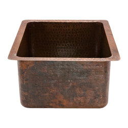 "Premier Copper Products - 16"" Gourmet Rectangular Copper Bar/Prep Sink - Are you looking for the ultimate in rustic elegance? This rectangular hammered copper sink makes a stunning style statement by adding rich color and texture to your kitchen or wet bar. Its generous eight-inch depth makes it large enough to tackle almost any task."