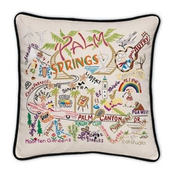 CATSTUDIO - Palm Springs Pillow by Catstudio - Celebrate the states! These pillows from Catstudio's Geography Collection are delightful keepsakes for remembering the hometown you grew up in or commemorating your favorite vacation spot. Embroidered entirely by hand (over 35 hours go into each one!) with black velvet piping, these make the perfect gift for all occasions! Removable cotton cover and polyfill pillow form. Cover is dry clean only.