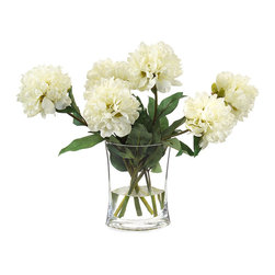 Heavenly Peonies Botanical - They may have just been plucked from a cottage garden and placed with ease within a simple vessel; such absolute beauty needs no additional adornment. In the Heavenly Peonies Botanical, large blooms of cotton white dance atop lush green stems, presenting a coloration that is at once soft yet vibrant. Faux water completes the look of flawless realism.