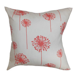 "The Pillow Collection - Dandelion Floral Pillow White Coral - Change up the look of your home by adding a pop of color with this floral throw pillow. This accent pillow makes a beautiful addition to your home accessories. This square pillow sports a coral floral pattern highlighted against a white background. This decor pillow brings an extra allure to your living room, bedroom or guestroom. This 18"" pillow is American-made with materials crafted from 100% soft cotton fabric. Hidden zipper closure for easy cover removal.  Knife edge finish on all four sides.  Reversible pillow with the same fabric on the back side.  Spot cleaning suggested."