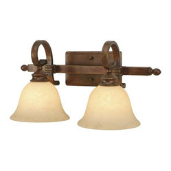 Golden Lighting - Rockefeller CB 2-Light Vanity - Square arm shape and decorative bracing for