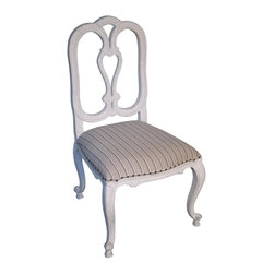 NOIR - Noir Tristan Side Chair - Material: MahoganyFinish: White WeatheredFabric: Taupe Stripe CottonNoir products are hand finished and created with a concentrated effort toward environmental sustainability. Variations could occur and are not considered as product defects.