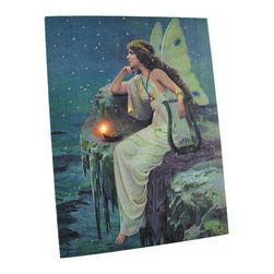 Zeckos - Fairy Overlooking Ocean LED Accent Printed Canvas Wall Hanging - This beautiful printed canvas features an image of a fairy with butterfly wings, overlooking the ocean, deep in thought. It has a perfectly placed LED light behind the oil lamp to bring it to life. It measures 13 1/2 inches tall, 10 inches wide, and has 2 hanging slots cut into the wooden frame so it easily mounts to any wall. The light is powered by 2 AA batteries (not included), are controlled by an inconspicuous on/off switch on the side of the canvas, and unsightly wires are concealed and contained by the vinyl backing. This piece is a lovely accent in any room or office, and makes a wonderful gift for a friend.