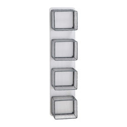 Cubicle Wall Rack - Form and function come together with this unique wood and metal unit. Four metal cubes are evenly spaced up and down a wooden panel. Simple in design, this wall-mounted rack will allow your books and photos to stand out. Incorporate shape and functionality without the clutter.
