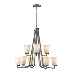 Murray Feiss - Murray Feiss Tribeca Transitional Chandelier X-SB3+6/2052F - Clean lines and finishes give a contemporary feel to this Murray Feiss chandelier. From the Tribeca Collection, it also features two tiers to ensure plenty of ample lighting. A clean Brushed Steel finish compliments the soft tones of the nine white opal glass shades.