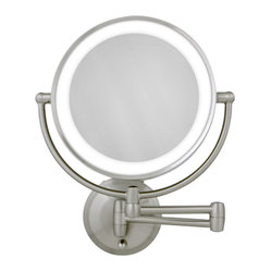 10X/1X Satin Nickel Round LED Lighted Wall Mirror
