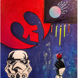 "Stormtroop In Love (Original) by Brya Amirault - This painting is so the ""Star Wars"" lovers. I enjoy the movies, but more then anything I love painting and drawing storm troopers. I wonder ""whats this man thinking ?"" No one can know because of the mask they all wear. But I like to think they all have passion and loves that aren't told about. I hope that if you enjoy my painting next time you watch the original movies, you pick a trooper and give him a back story that only you and him know ."