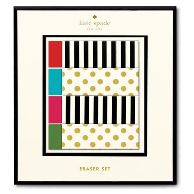 Kate Spade - kate spade Erasers - Set of 4 Assorted - Wipe your worries away when mistakes are made with these kate spade new york Erasers. Fun to use and totally functional, this 4-piece set makes making mistakes a happy accident.