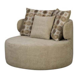 Chelsea Home - Chelsea Home York Upholstered Swivel Chair Multicolor - 730880-2736-35583 - Shop for Living Room Chairs from Hayneedle.com! Laid-back and fun the Chelsea Home York Upholstered Swivel Chair makes the most of your space. Sure to be everyone's favorite chair this one features a durable wood frame and neutral tan upholstery that works in any setting. This beauty lets its generous scale round shape and accent pillows bring the contemporary charm. It features a swiveling base spacious round seat and three dotted tan and brown accent pillows that add visual appeal. About Chelsea Home FurnitureProviding home elegance in upholstery products such as recliners stationary upholstery leather and accent furniture including chairs chaises and benches is e most important part of Chelsea Home Furniture's operations. Bringing high quality classic and traditional designs that remain fresh for generations to customers' homes is no burden but a love for hospitality and home beauty. The majority of Chelsea Home Furniture's products are made in the USA while all are sought after throughout the industry and will remain a staple in home furnishings.