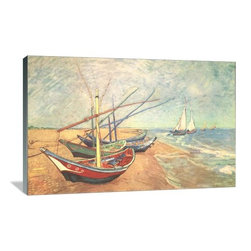 "Artsy Canvas - Boats At Saintes-Maries 48"" X 32"" Gallery Wrapped Canvas Wall Art - Boats at Saintes-Maries - Vincent van Gogh (1853 - 1890) was a Dutch post-Impressionist painter whose work, notable for its rough beauty, emotional honesty, and bold color, had a far-reaching influence on 20th-century art. beautifully represented on 48"" x 32"" high-quality, gallery wrapped canvas wall art"