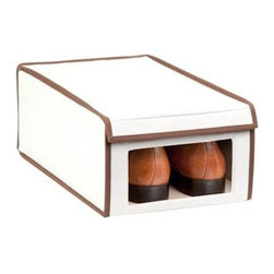 Honey Can Do - Natural Canvas Medium Window Shoe Box - Clear view windows. Quickly identify items inside. Drop down front panel. Great for accessing contents when stacked. Space-saving design. Collapses when not in use. 16 in. L x 10 in. W x 6.25 in. H (1.3125 lbs.)Honey-Can-Do SFT-02065 Large Shoe Storage Box, Natural/Brown. Throw out those old retail shoe boxes and store your shoes in style. The clear view window lets you easily see the contents while the fold down lid simplifies access. Protective cloth interior safeguards against scuffs and scratches. Stackable by design, the 16x10x6.25 inch box is a great organization tool when combined with additional boxes (not included). In classic off-white with brown accents, its an instant upgrade to any closet. Made of polyester and cotton canvas.
