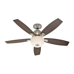 "Hunter Fan Company - 52"" Skyline Brushed Nickel Fan - Skyline - 52"" - Model: 28704 - Large Room - Hunter combines 19th century craftsmanship with 21st century design and technology to create ceiling fans of unmatched quality style and whisper-quiet performance. Using the finest materials to create stylish designs Hunter ceiling fans work beautifully in today's homes and can save up to 47% on cooling costs!"