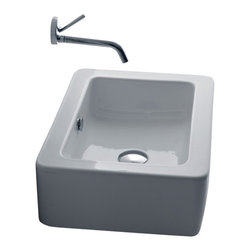 "WS Bath Collections - Ego 3247 Ceramic sink 15.7"" x 15.0"" - Is your bathroom a little tight on space? This sleek little number doesn't demand much, but it speaks volumes. In Italian, of course."