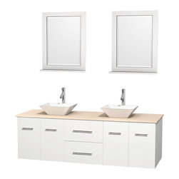 """Wyndham Collection - Centra 72"""" White Double Vanity, Ivory Marble Top, Pyra White Porcelain Sinks - Simplicity and elegance combine in the perfect lines of the Centra vanity by the Wyndham Collection. If cutting-edge contemporary design is your style then the Centra vanity is for you - modern, chic and built to last a lifetime. Available with green glass, pure white man-made stone, ivory marble or white carrera marble counters, with stunning vessel or undermount sink(s) and matching mirror(s). Featuring soft close door hinges, drawer glides, and meticulously finished with brushed chrome hardware. The attention to detail on this beautiful vanity is second to none."""