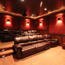 Traditional Home Theater by Pinnacle Mountain Homes