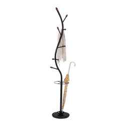 None - Black Metal 'Walnut Hall Tree' Coat Hat Rack with Umbrella Stand - Stay elegantly organized with this convenient metal and wooden coat rack. This rack features a total of nine large and small arms in a beautiful black metal finish with walnut wooden knobs.