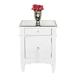 Worlds away - Worlds Away: Mirrored Nightstand with White trim - Worlds Away: Mirrored Nightstand
