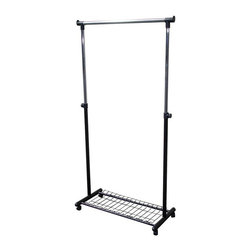 Ore International - Ore International 62 in. Mobile Coat Hanger - R505BK - Shop for Coat Hooks and Racks from Hayneedle.com! Add a little functional style to your living space with the Ore International 62 in. Mobile Coat Hanger. This contemporary metal and plastic coat rack features wheels for easy mobility between rooms and a single adjustable-height hanging bar fit to accommodate everything from cropped jackets to trench coats up to 35 lbs. A black wire shelf is the perfect landing place for shoes or work boots and hooded plastic caps extend hanging space a few inches beyond the scope of the bar. This easy-to-assemble coat rack comes in a black and chrome finish sure to suit any decor for a look that is both flattering and functional -- in the entryway the closet or anywhere in between.About Ore International Inc.:Ore International Inc. creates beautiful accent furniture lighting and gifts for the home. Their goal is to be the leading provider of innovative superior home products worldwide. Ore International is based in Santa Fe Springs California and has a Customer First attitude. Their products are designed to match modern and classic tastes and fit today's homes. From room dividers to lamps end tables to entertainment centers you'll discover quality craftsmanship at a fair price in all Ore International products.