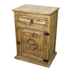 """Rustic Wood Nightstand With Texas Star - Solid wood, rustic nightstand with the official Texas star. Check out the other Texas star pieces. We have the entire line and you should too! A Tres Amigos favorite! """"Color may vary slightly""""."""