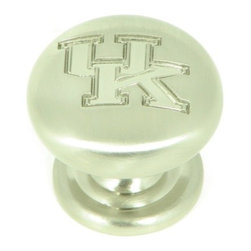 """Stone Mill Hardware - Kentucky -Collegiate Hardware Cabinet 1 1/4"""" Knob in Satin Nickel - A gorgeous satin nickel finish. Engraved with the University of Kentucky """"UK"""". Solid, high-quality cabinet hardware."""