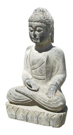 Golden Lotus - Unique Chinese Antique Buddha Hand Carving Sitting Statue - This is a Chinese antique sitting Buddha statue which is made of solid stone.  Look at the peaceful face and sitting position, and it is perfect to put at your entrance of hall way, or decorate your garden.
