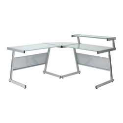 Euro Style - L Desk - Aluminum/Frosted Glass - This is a very space efficient workstation. Epoxy coated steel in either a graphite/smoked look or in bright aluminum and frosted glass the L desk has room for all the necessities and all the niceties that make it comfortable, functional and space saving.