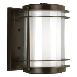 Progress Lighting - Progress Lighting P5897-108 1-Light Wall Lantern with Clear and White Opal Glass - Progress Lighting P5897-108 1-Light Wall Lantern with Clear and White Opal Glass Cylinder
